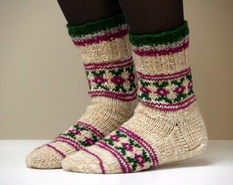 Size 6 US woman or teen girls, EU 36, Hand knit beautiful wool socks