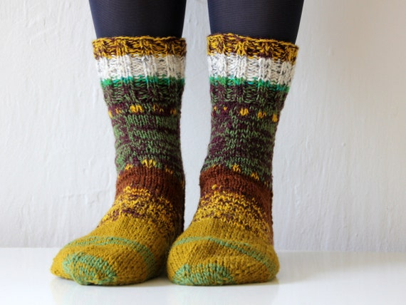 Hand knit wool socks from Baltic States, size - large US W 10, EU 42
