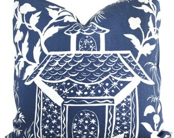 Blue and White Chinoiserie Pillow Cover  Quadrille China Seas Lyford Print, Toss pillow, Accent Pillow, Throw Pillow, Pillow Cushion
