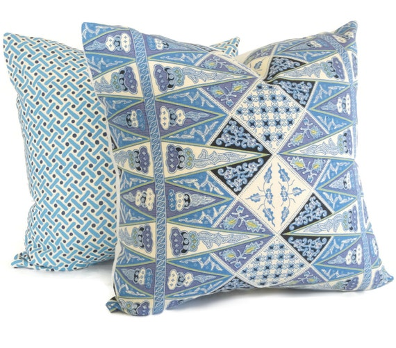 Queen Throw Pillows : Quadrille Pillow Cover China Seas Malay Stripe French Blue