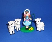 Polymer Clay Little Bo Peep and her Sheep (3) Set