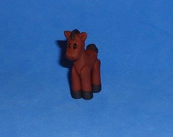 Polymer clay Little Brown and Black Horse