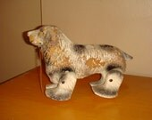 Vintage 1940s Paper Mache Wood Composition Spaniel Dog Pull Toy