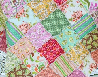 20% Off Summer Sale, Fresh Cut, Shabby Chic, Mother's Day Gift, Throw Sized Rag Quilt, Ready to Ship