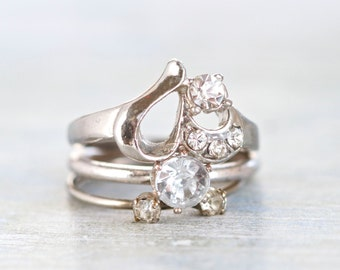Stacking Rings - set of 3 Stackable Rings with Rhinestones - Size 8
