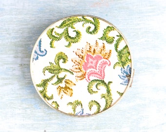 Vintage Compact Mirror - Fold up Pocket mirror with flower Motif