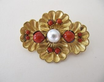Vintage brooch with pearl and red glass beads, C clasp pinback, circa 1940 jewelry, ladies brooches, vintage gold pins