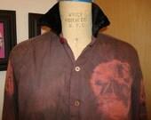 Tie dye velvet and fringe shirt