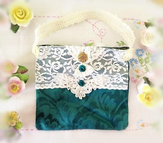 Small Handbag, Makeup Bag, Purse, Evening Bag, Dark Forest Green, Vintage Crochet,  Cloth Handmade CharlotteStyle Decorative Folk Art