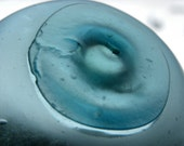 Blue Japanese Fishing Float with Marking for Display, Home Decor, Found in Alaska, Partial Frost Glass Ball for Collectors, Stamped Number 2