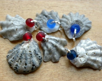 Kitten Paw Shells, Set of Florida Sea Shells, Frosty Czech Glass Beads, Drilled Shells for Jewelry Making, Jewelry Supplies, Red Blue Glass