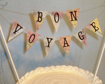 Wedding Cake Topper Banner , Bon Voyage Map Bunting, Destination Wedding Garland, Travel