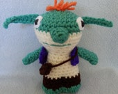 Made to order, Hand crocheted Wallykazam like Bob Goblin monster Amigurumi Doll