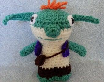 Made to order, Hand crocheted Wallykazam Similar like Bob Goblin monster Amigurumi Doll
