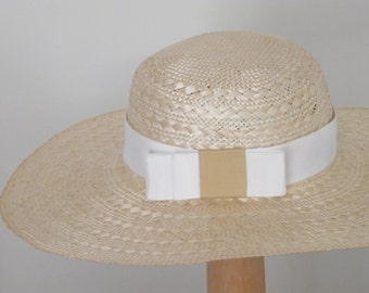 Light  natural straw hat for women - long brim summer hat - Large ladies hat Rana Hats Israel