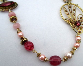 Handmade Assemblage Necklace in Pink