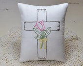 Cross with Flower Decorative Pillow - Hand Embroidered Easter Decor - Religious Home Decor - Christian - Pink Tulip - Green Vines