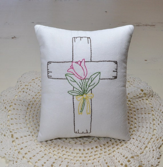 Cross with Flower Decorative Pillow Hand Embroidered Easter