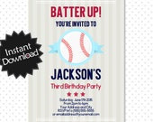 Editable Baseball Invitation - Instant Download, have it printed in minutes, instructions included - You Edit with Adobe Reader .. bb02