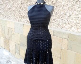 Crochet Suit, Two Piece Set, Black Crochet Suit, Crochet Top, Crochet Skirt, Handmade Black Crochet Suit, Women Lace Costume, Summer Set