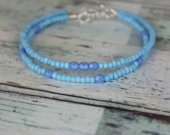 Silver/Blue Beaded Bracelets