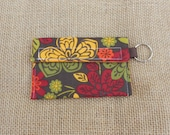 Keychain Wallet - brown, gold, red, green flowers