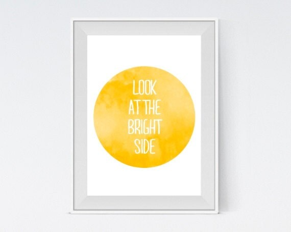 "Inspirational Art ""Look at the Bright Side"" Typography Print Motivational Wall Decor Watercolor Poster Home Decor Quote Minimalist Geometric"