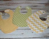 Baby Bibs Yellow and Green Gender Neutral Modern Bib Set  - Set of 3