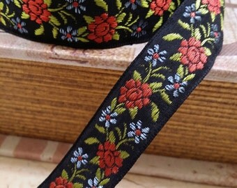 """3/4"""" Black Vintage French Jacquard Ribbon Trim muted red and blue embroidered florals  #974-05"""
