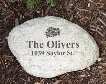 Engraved Family Garden Stone Decor Personalized Grey Outdoor