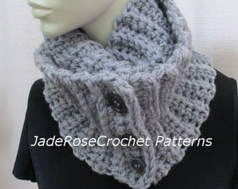 Crochet Scarf Pattern Plush Buttoned Infinity Scarf Unisex Double and Triple Wrap PDF231