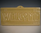 Welcome Tile - Arts & Crafts Mission Craftsman Style - Soft Yellow Crackle Glaze