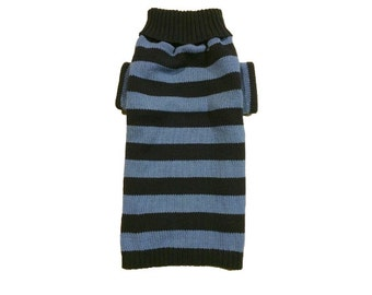Big Dog Clothing, Large Blue Knit Striped Designer Sweater, Puppy Apparel