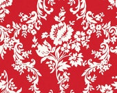 LAMINATED cotton fabric - Damask Red Lost & Found 2 yardage (aka oilcloth, coated vinyl) Lost2