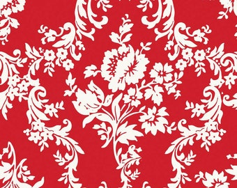 1/2 yard LAMINATED cotton fabric (similar to oilcloth) - 18 x 40 - Damask Red - Lost2 - Approved for childrens products - Christmas