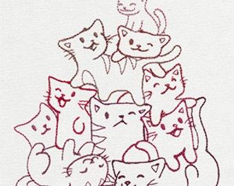 Pile O' Cute Kitties Cats Embroidered Flour Sack Hand/Dish Towel