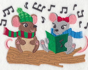 Caroling Mice Embroidered Flour Sack Hand/Dish Towel