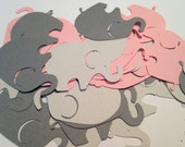 50 Large Pink Gray Elephant Cutout Punch Die Cut Embellishment Cupcake Topper