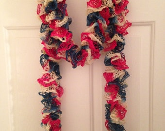 Ruffle Scarf, Red Blue Cream Ruffle Scarf,  Knit Scarf, Mother's Day Gift, Teacher Gift, Birthday Gift, Ladies Scarf, Americana Scarf