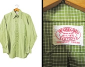 Vintage 60s McGregor Men's Shirt Green Gingham Scotset Long Sleeve Checker Grid - Large