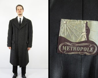 Vintage 1930s Wool Overcoat Charcoal Men's Long Black Top Coat - Size 44 Long