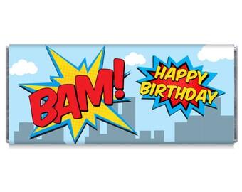 Boy Superhero Birthday Party Personalized Candy Bar Wrappers - Boy Superhero Birthday Party Favors