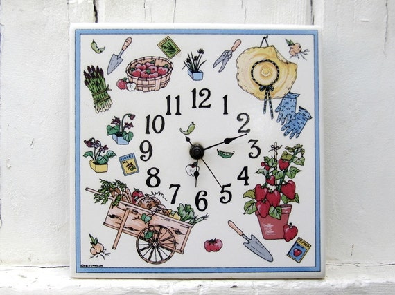 Santa Barbara Ceramic Design SBCD Wall Clock Gardening Laurie Mesa