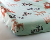 Woodland Changing Pad Cover or Fitted Crib Sheet, Hello Bear Meadow Nursery Bedding, Bear Owl Fox Deer Forest, Peach Mint Gray Baby Nursery