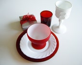 Vintage Place Setting - Red and White Dish Set - Mix and Match Retro Dishes - Gift for Vintage Lover - 5 Piece