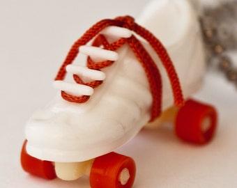 1975 Vintage Roller Skate Necklace - White