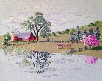 Vintage crewel embroidery, vintage picture, vintage needlework