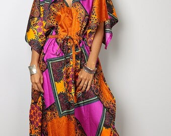Boho Maxi Dress / Caftan Long Summer Gown with African Print : Bohemian Kaftan Collection No.1