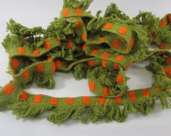 Vintage  Green and Orange Cotton Fringe Trim, Vintage Trim, Vintage Edging, Vintage Cotton  Edging