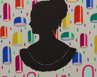 Altered Vintage Silhouette, Under the Lights, Painting Acrylic Gouache, One of a Kind Original